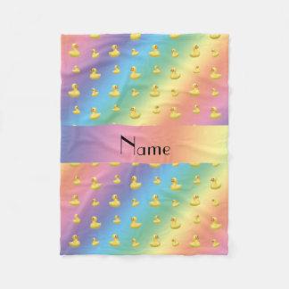 Personalized name rainbow rubber duck pattern fleece blanket