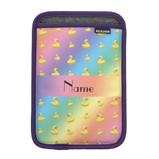 Personalized name rainbow rubber duck pattern iPad mini sleeves