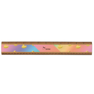 Personalized name rainbow rubber duck pattern wood ruler