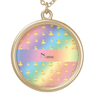 Personalized name rainbow rubber duck pattern custom necklace