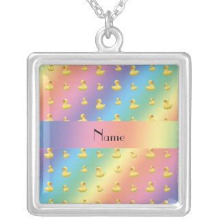Personalized name rainbow rubber duck pattern jewelry