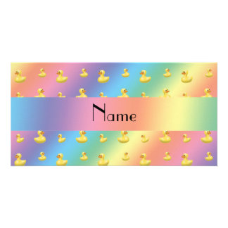 Personalized name rainbow rubber duck pattern photo card