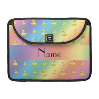 Personalized name rainbow rubber duck pattern sleeve for MacBooks