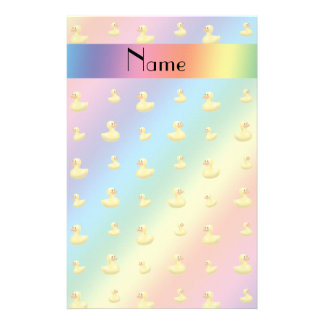 Personalized name rainbow rubber duck pattern stationery design
