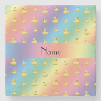 Personalized name rainbow rubber duck pattern stone beverage coaster