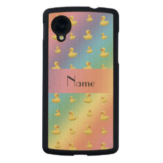 Personalized name rainbow rubber duck pattern carved® maple nexus 5 case