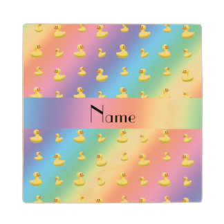 Personalized name rainbow rubber duck pattern wood coaster