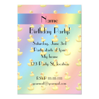Personalized name rainbow rubber duck pattern magnetic invitations
