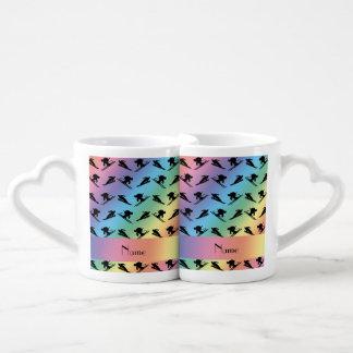 Personalized name rainbow ski pattern couples' coffee mug set