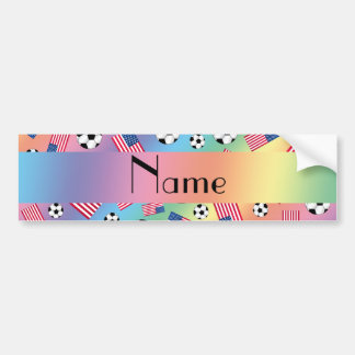 Personalized name rainbow soccer american flag bumper sticker