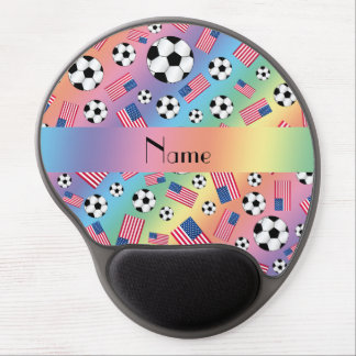 Personalized name rainbow soccer american flag gel mouse pad