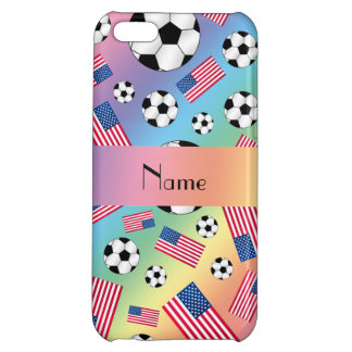 Personalized name rainbow soccer american flag cover for iPhone 5C