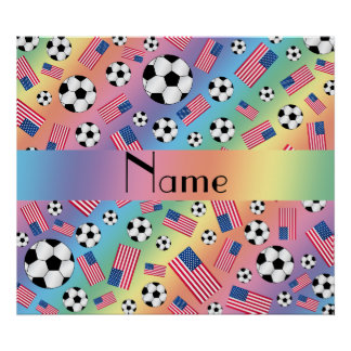 Personalized name rainbow soccer american flag poster