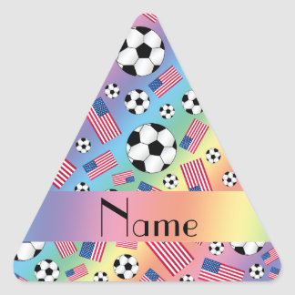 Personalized name rainbow soccer american flag triangle sticker