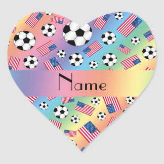 Personalized name rainbow soccer american flag heart stickers