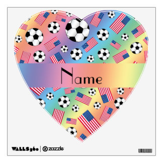 Personalized name rainbow soccer american flag wall skin