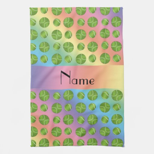Personalized Name Rainbow Tennis Balls Pattern Hand Towels