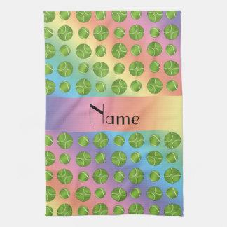 Personalized name rainbow tennis balls pattern towel