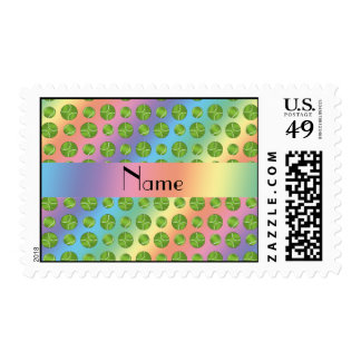 Personalized name rainbow tennis balls pattern postage