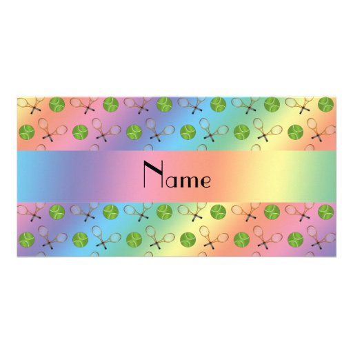 Personalized name rainbow tennis balls personalized photo card