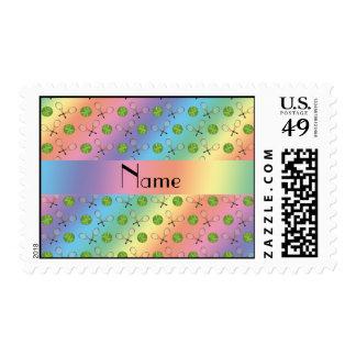 Personalized name rainbow tennis balls postage