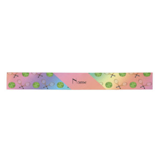 Personalized name rainbow tennis balls satin ribbon