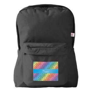 Personalized name rainbow tools pattern backpack