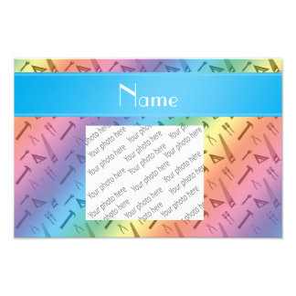 Personalized name rainbow tools pattern photo print