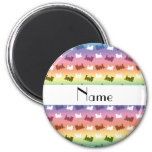 Personalized name rainbow train pattern magnets