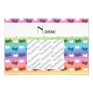 Personalized name rainbow train pattern art photo