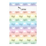 Personalized name rainbow train pattern stationery paper