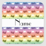 Personalized name rainbow train pattern square sticker