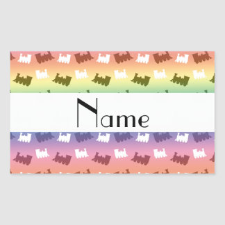 Personalized name rainbow train pattern rectangle stickers