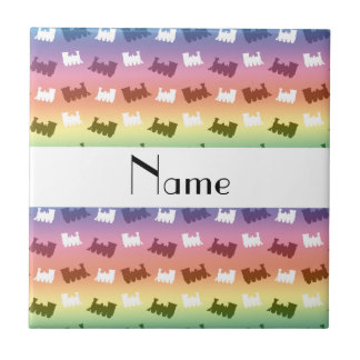 Personalized name rainbow train pattern tiles