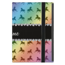 Personalized name rainbow unicorn pattern iPad mini case