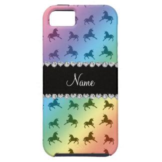 Personalized name rainbow unicorn pattern iPhone SE/5/5s case