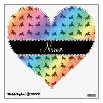 Personalized name rainbow unicorn pattern wall sticker