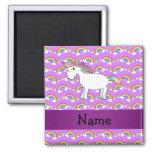 Personalized name rainbow unicorn purple rainbows magnet