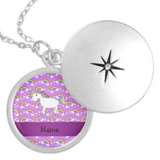 Personalized name rainbow unicorn purple rainbows necklace