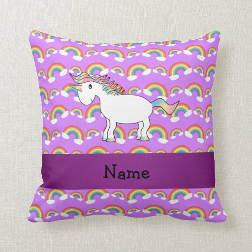 Personalized name rainbow unicorn purple rainbows throw pillow