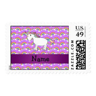 Personalized name rainbow unicorn purple rainbows postage stamps