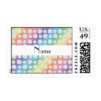 Personalized name rainbow volleyball balls postage stamps