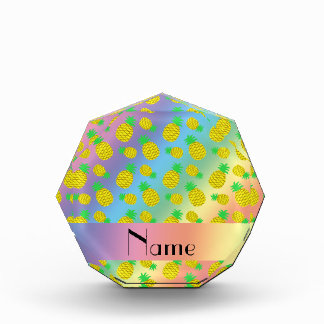 Personalized name rainbow yellow pineapples acrylic award