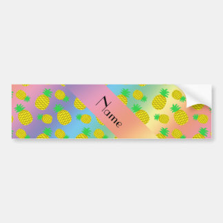 Personalized name rainbow yellow pineapples car bumper sticker