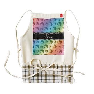Personalized name rainbow ying yang pattern zazzle HEART apron