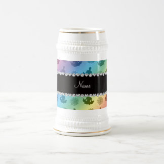 Personalized name rainbow yoga pattern beer stein
