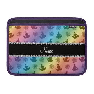Personalized name rainbow yoga pattern MacBook sleeve