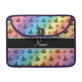 Personalized name rainbow yoga pattern sleeve for MacBooks