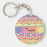 Personalized name rainbows pattern keychains