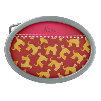 Personalized name red afghan hound dogs belt buckle